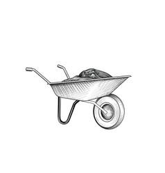garden cart with humus wheelbarrow engraving vector image
