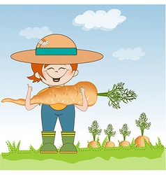 gardener to harvest carrots vector image