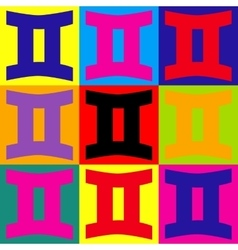 Gemini sign Pop-art style icons set vector image