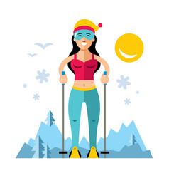 Girl on skis flat style colorful cartoon vector
