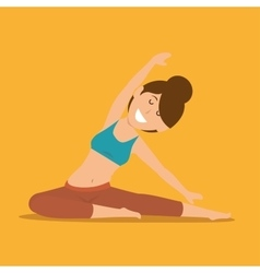 Girl pose exercise yoga icon design vector