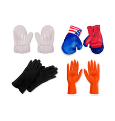 Gloves icon set realistic style vector