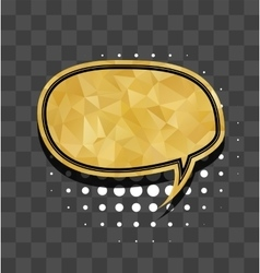 Gold round sparkle comic text bubble vector
