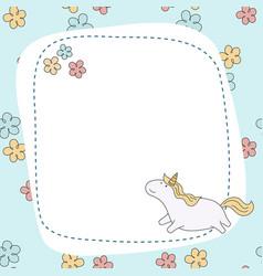 greeting card with cartoon unicorn greeting card vector image