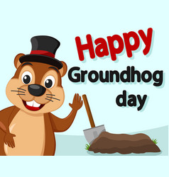groundhog in hat peeps out smiling and waving vector image
