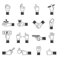 hand icons black set vector image