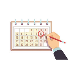 Hand with pen marks date in calendar deadline and vector