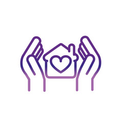 hands with house protection charity help donation vector image