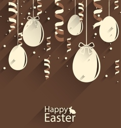 Happy Easter Chocolate Background with Eggs and vector