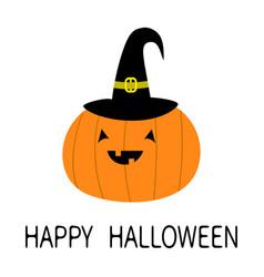 Happy halloween pumpkin witch hat funny creepy vector