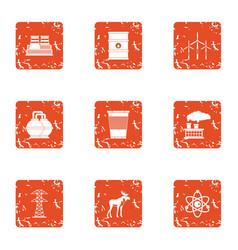 Hazardous environment icons set grunge style vector