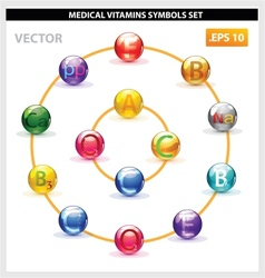 health medicine vitamins pill set isolated vector image