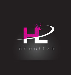 Hl h l creative letters design with white pink vector