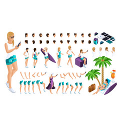 Isometric set for creating your character vector