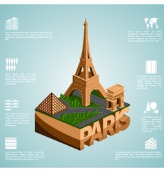 Isometry city Paris vector image