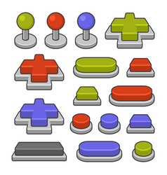 joystick and gamepad buttons set on white vector image