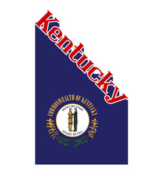 Kentucky state angled shadow text vector
