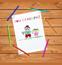 Kids with grandpa and granddughter together vector