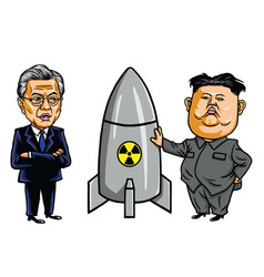 kim jong un vs moon jae in cartoon vector image