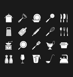 Kitchenware white silhouette icons set vector
