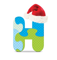 Letter H written with alphabet puzzle vector