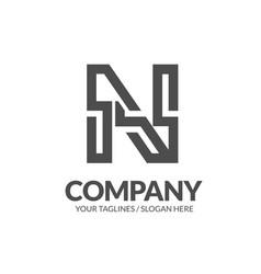 letter n geometric strong monogram logo vector image