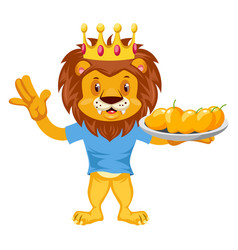 Lion with mangos on white background vector