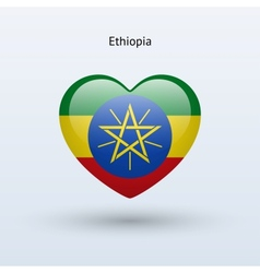 Love Ethiopia symbol Heart flag icon vector