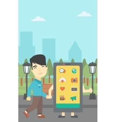 Man walking with big smartphone vector