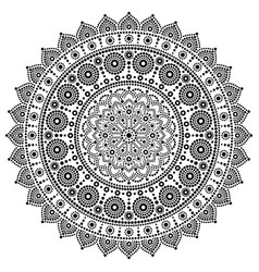 Mandala monochrome design dot painting vector