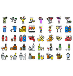 mixed drink and alcoholic beverage icon set vector image