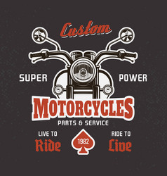Motorcycle front view on dark t-shirt print vector