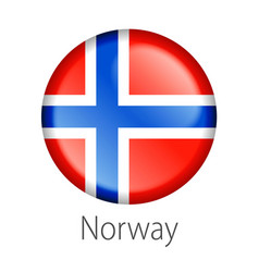 Norway round button flag vector