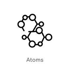 Outline atoms icon isolated black simple line vector