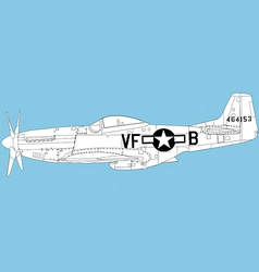 p 51 mustang vector image