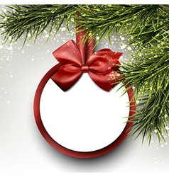 Paper gift card on spruce branches vector image