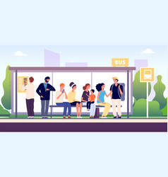 people at bus stop city community transport vector image