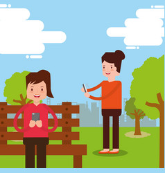 people smartphone device vector image