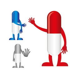 pills with hands vector image