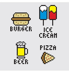 Pixel food vector