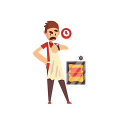 Pizza maker character making pizza stage of vector