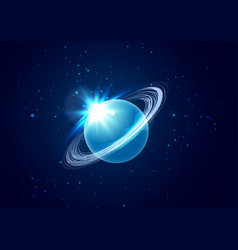 Planet uranus in space background with star vector