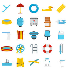 Pool equipment icon set flat style vector