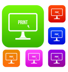 Print word on a computer monitor set collection vector