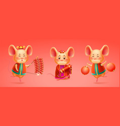 rat celebrating 2020 chinese new year or mouse vector image