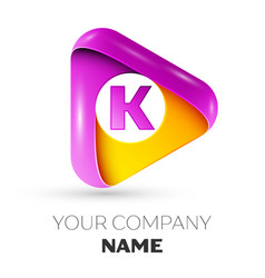 Realistic letter k symbol in colorful triangle vector