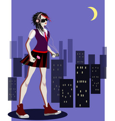 Romantic emo girl listening to music in dark city vector