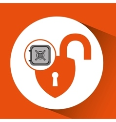 Safe box padlock open protection design vector