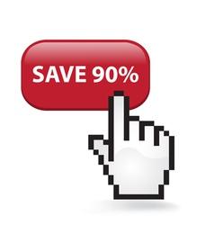 Save 90 Button vector