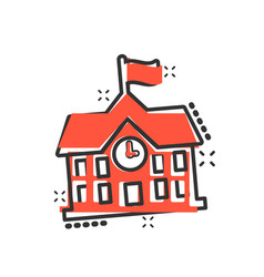 school building icon in comic style college vector image